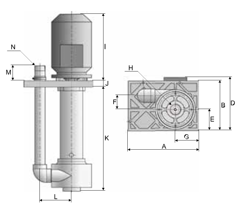 Plastic Vertical pumps dimensional